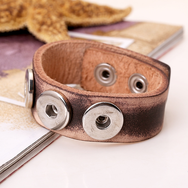 Noosa Button Bracelets Vintage Leather Bracelet Fashion Jewelry Bangles DIY Wrap Charm Bracelets for Men Accessories