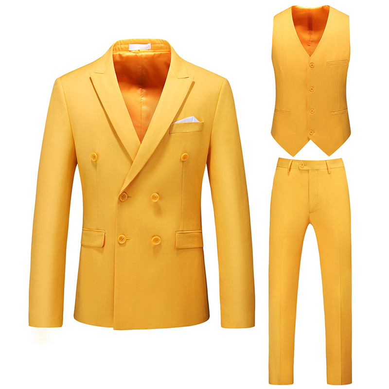 Mens Suits Slim Fit 3 Pieces Business Groom Double-breasted Jacket Tuxedos White Blazer Wedding Prom (Blazer+Vset+Pants) M-6XL