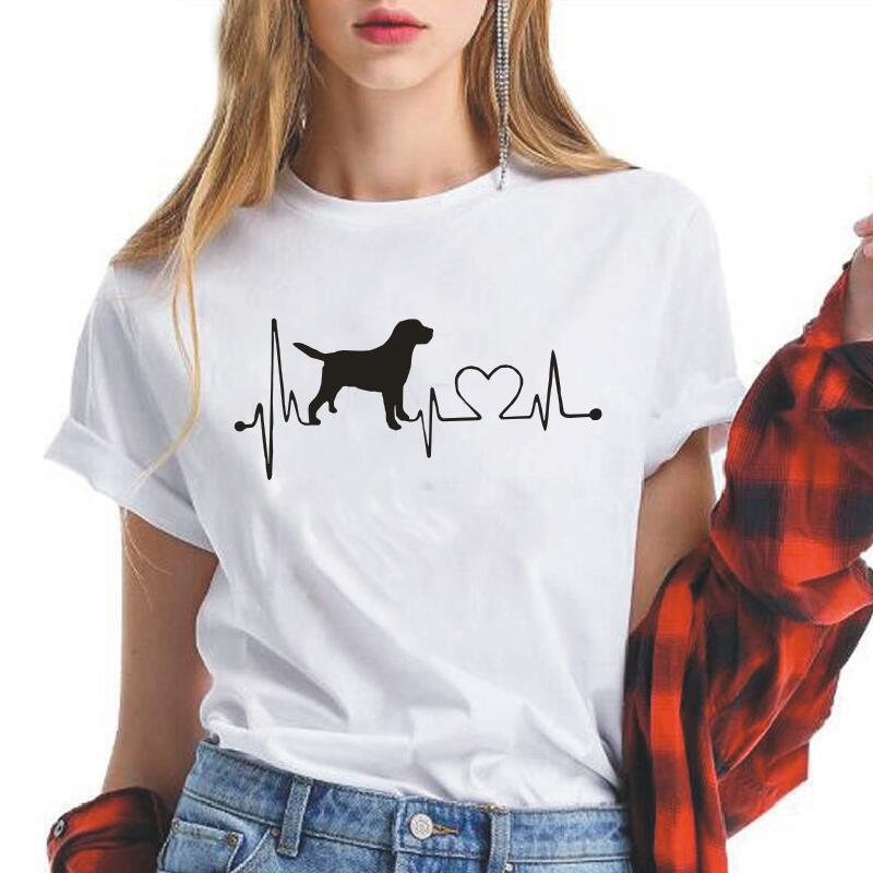 Labrador Retriever Heartbeat Print Women T Shirt Short Sleeve Casual Shirt Tee Shirt Femme Hipster Harajuku Tshirt Women Tops