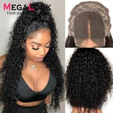 Curly Human Hair Wig Closure Wigs For Black Women 30 Inch Lace closure Wig Remy Megalook 180% Density Peruvian 4×4 Closure Wig