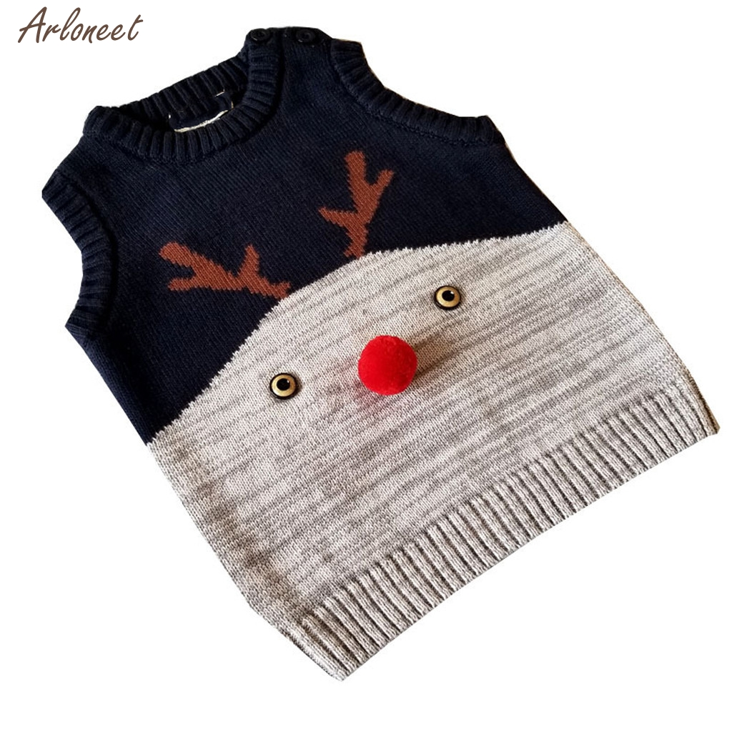 Toddler Baby Kids Winter Christmas Deer Sweater Knitted Warm Vest  Jacket Coat