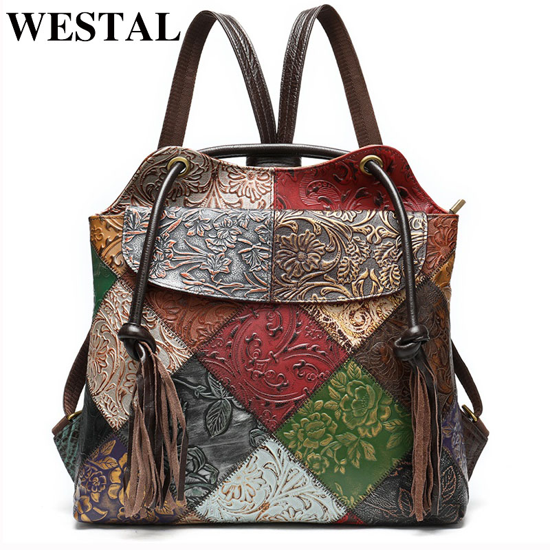 WESTAL Patchwork Women's Backpacks Genuine Leather School Bags For Teenager Laptop Backpack Shoulder Bag Female School Backpack