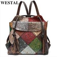WESTAL Patchwork Women's Backpacks Genuine Leather School Bags For Teenager Laptop Backpack Shoulder Bag Female School Backpack
