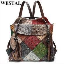 WESTAL floral frau rucksack Aus Echtem Leder mode Laptop Rucksack Schule Tasche Für Teenager feminina Rucksack für frauen mochila