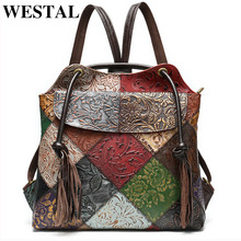 WESTAL floral woman backpack Genuine Leather fashion Laptop Backpack School Bag For Teenager feminina Backpack for women mochila
