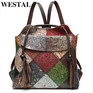 Image 1 - WESTAL floral woman backpack Genuine Leather fashion Laptop Backpack School Bag For Teenager feminina Backpack for women mochila