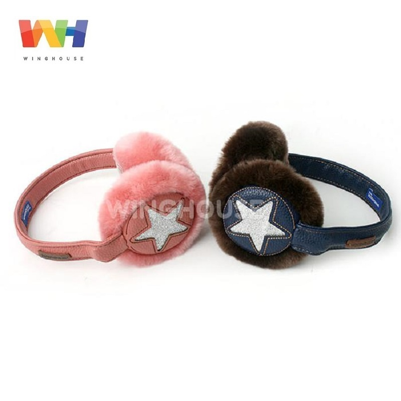 Winghouse Children Earmuffs Girl Warm Earplugs Five-pointed Stars Plush Ear Covers Kids Windproof Winter Headphones Fur Ear Bags