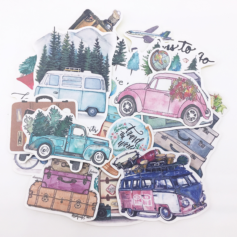 24PCS DIY Scrapbooking Hand-painted Stickers Plant Trees Car Bus Slow Life Album Journal Happy Planner Label Decoration Stickers