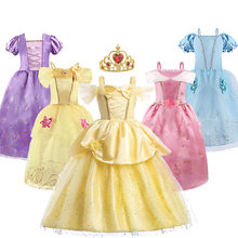 Princess Dress Rapunzel Belle Cinderella Beauty Costume Little Girl Dress Girl Birthday Party Christmas New Year Evening Dress