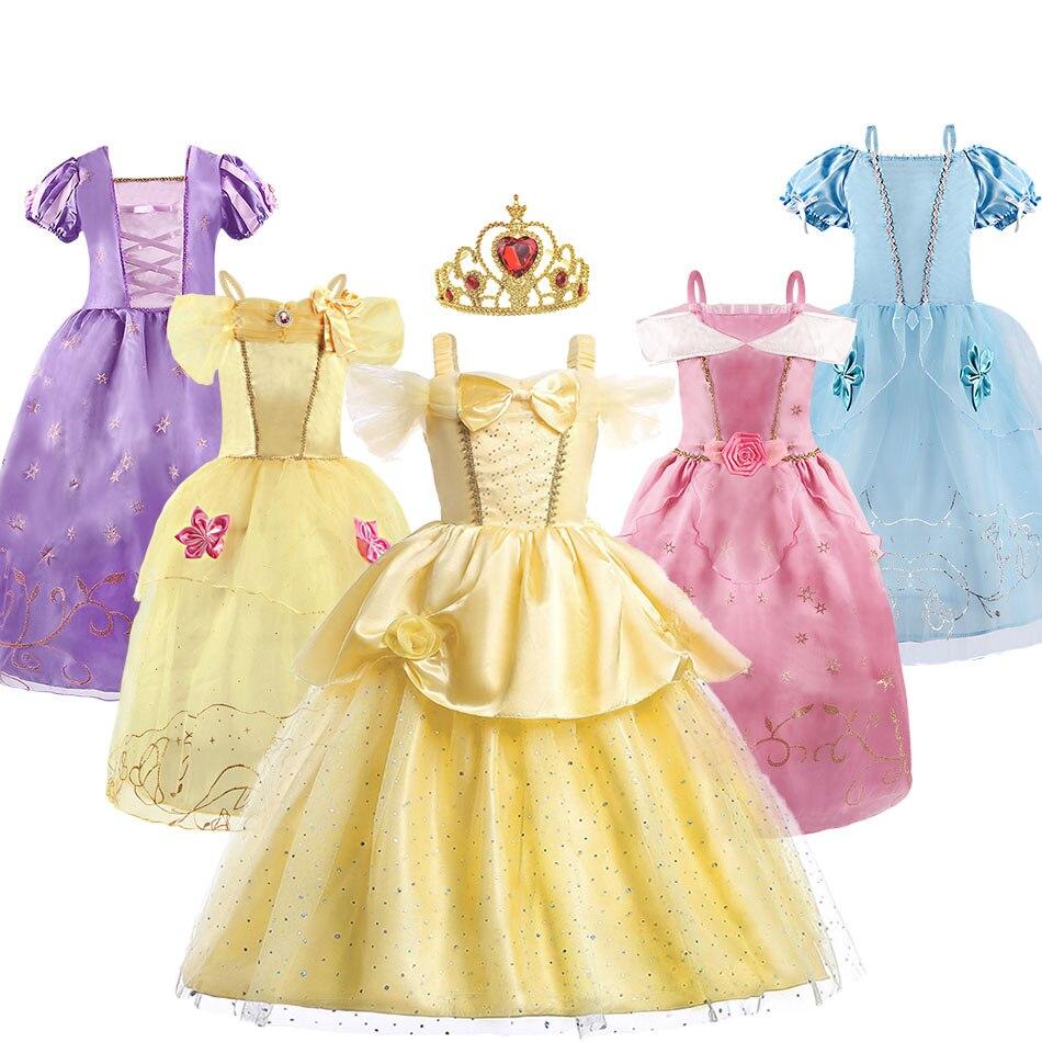 Robe de princesse raiponce Belle cendrillon beauté déguisement petite fille robe fille fête danniversaire noël nouvel an robe de soirée