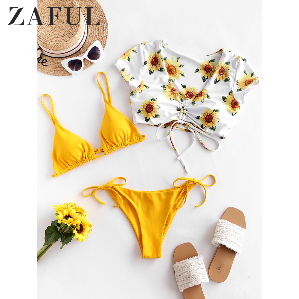 ZAFUL Sunflower Floral Cinched Tie Side Three Piece Swimsuit Women Triangle Bikini Spaghetti Straps Padded String Bikini Sets
