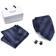 Vangise 8cm Tie Set 100%Silk Jacquard Mens Necktie Paisley Gravata Hanky Cufflinks Pocket Handkerchief for Wedding