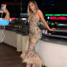 Shiny Halter Backless Prom Dresses Sequined Appliques Feathers robe de soiree High Low Mermaid Evening Dress Sexy Custom Made