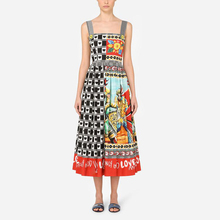 Dress Sicily-Style Spaghetti-Strap Printed Mid-Calf Women Summer Guard Palace-Hero Quality