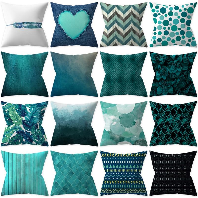 Cushion Cover Teal Blue Duck Blue Home Decoration Pillow Cover Sofa Decor Car Decor Teal Blue Peach Skin 45*45 Cm Pillow Case