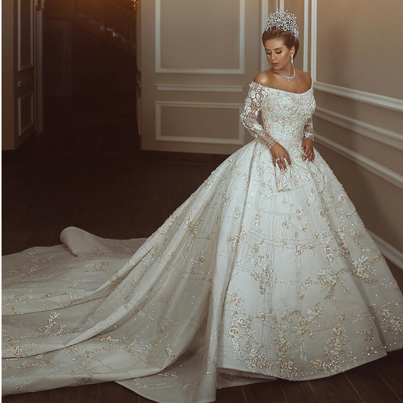 Vestidos De Novia 2020 Elegant Boat Neck Ball Gown Wedding Dress Princess Luxury Beading Illusion Long Sleeve Wedding Gown