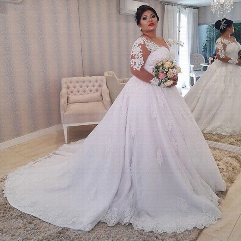 White Lace Appliques Plus size Wedding Dress 2021 Long Sleeves Lace Up Back African Wedding Gown Vestido De Noiva robe de mariee