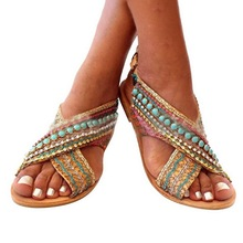 DIHOPE Women Flat Shoes Summer Bohemian Comfortable Roman Sandal Boho Sandalias Mujer Colorful Female Beach Flat Shoes cheap Gladiator Flat with Open Rubber Low (1cm-3cm) Casual Fits true to size take your normal size Cover Heel Rome Classics women sandals