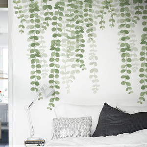 85*73cm Removable Green Leaf Vine Wall Stickers for Living room TV Background Self-adhesive Wall Decals Vinyl DIY Wall Murals