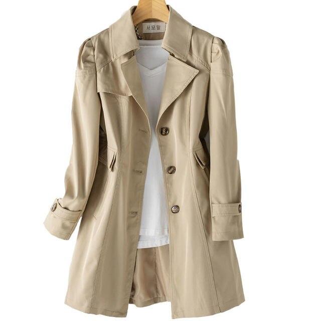 FTLZZ New Autumn Women Khaki Long Trench Coat Casual Female Streetwear Slim Fit Korean Style Windbreaker Single Breasted Outwear 4