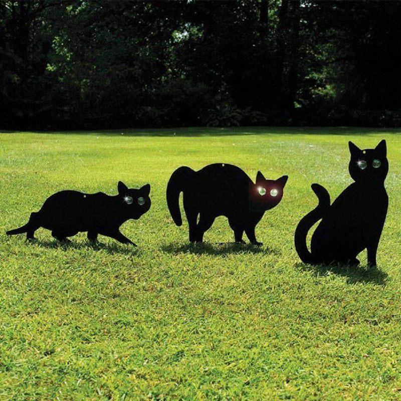 3pec Black Metal Scare Cats Pest Control Scarer Repeller Cat Deterrant Black Cat|Hunting Decoy| |  - title=