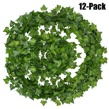 12 штук искусственный цветок плюща гирлянды поддельные лозы лист свисающие растения Гирлянда Свадебный сад дома Свадебные украшения стены