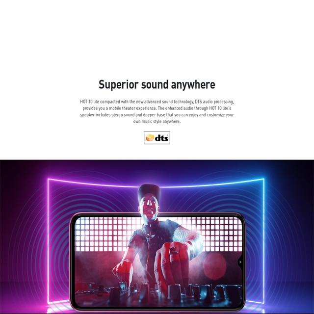 Global Version Infinix Hot 10 Lite 2GB 32GB Mobile Phone 5000mAh Battery 6.6''HD 1600*720P 13MP Camera Helio A20 6