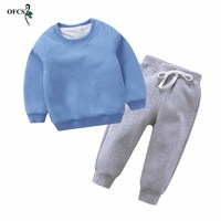 Winter Warm Kids Girls Boys Clothing Sets Children's Clothes Tops Boys Long sleeve T shirt +Pants Tracksuits and Trousers Suits