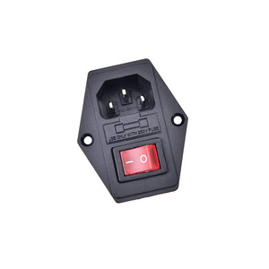 1Pc IO ON/OFF Switch Socket With Female Plug For Power Supply Cord Switch With Fuse 3 Pin IEC320 C14 Plug Arcade Machine