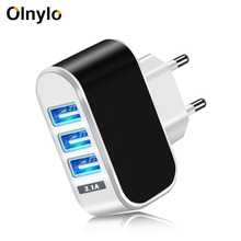 Olnylo 3 Port USB Charger EU US 5V 2A Fast Charger Adapter F