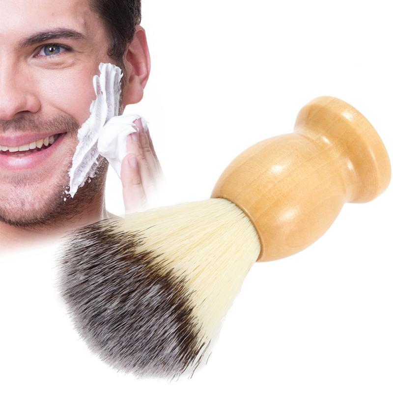 Professional Men's Shaving Brush Wooden Handle Pure Nylon For Men Beard Face Cleaning Shaving Barber Mask Cosmetics Tool