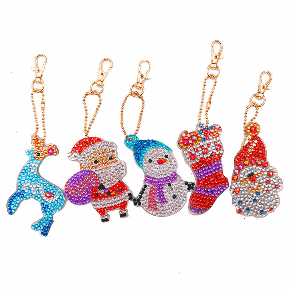 5D DIY Diamond Painting Keychain Christmas Gift 5pcs Diy Special Full Drill Cross Stitch Woman Jewelry Keyring Ornaments #R15