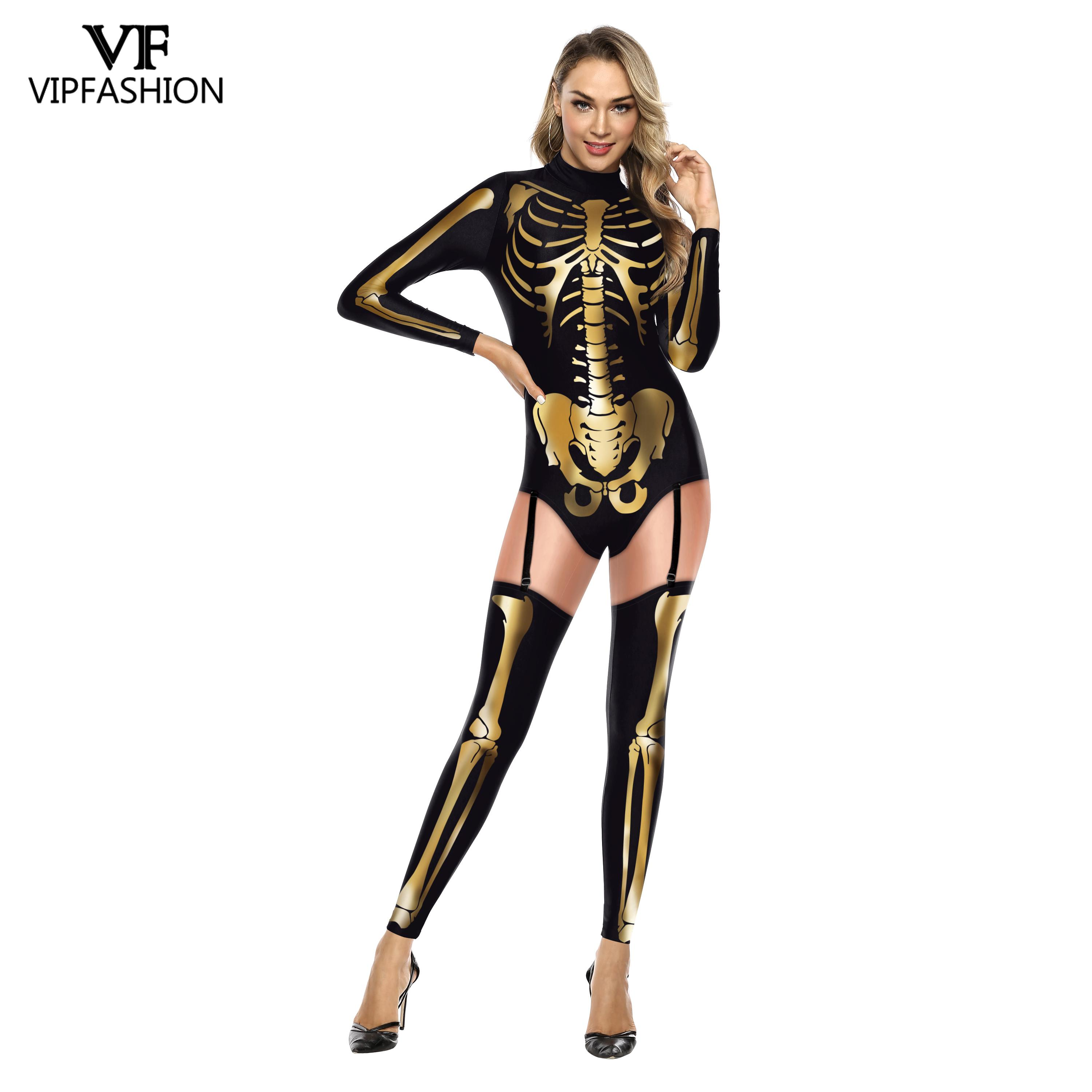 VIP FASHION New Halloween Cosplay Costume Women 3D Skeleton Skull Printed Jumpsuit Carnival Onesies Outfits Rompers Bodysuits