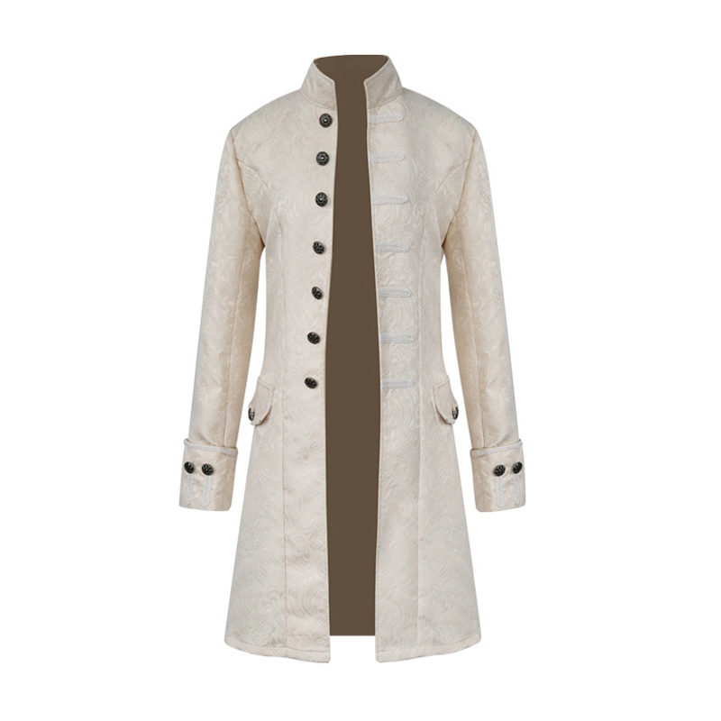 H35e76b2baa7841a2930736f14802b9543 Men Steampunk Military Vintage Coat Stand Collar Single Breasted Solid Gothic Jackets Male Long Sleeve Slim Clothes Outerwear