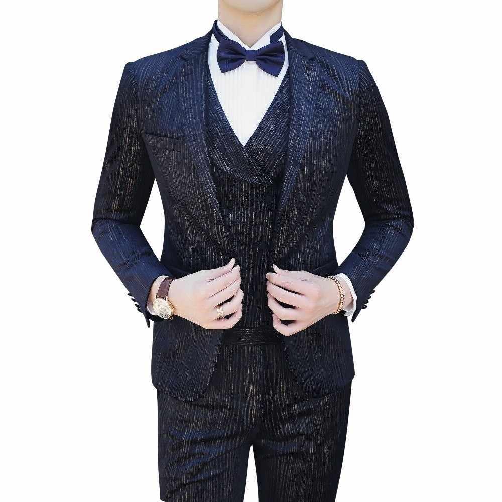 Casual Kleding (Blazer + Vest + Broek) trajes De Hombre Kostuum Mariage Homme Smoking 2020 Herfst Mannen Streep Pakken Mannen Business