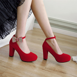 Image 4 - Rimocy/женские туфли лодочки с бантом, украшенные кристаллами, на очень высоком квадратном каблуке, вечерние свадебные туфли с ремешком на щиколотке, женская обувь из флока, большие размеры 45, 2019