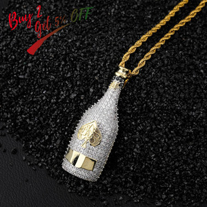 Image 2 - TOPGRILLZ Big Wine Bottle Necklaces Full Cubic Zircon Iced Out Pendants Hip Hop Men Women Gold Color Vogue Jewelry For Rocker