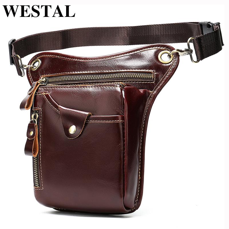 WESTAL Men's Belt Bag Leather Leg Bag Male Fanny Pack Waist Bags Men Tactical Phone Pack Fashion Leather Motorcycle Bags For Men