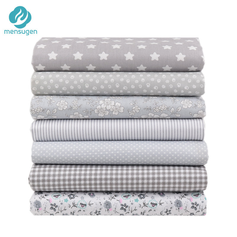 Mensugen 7pcs 40x50cm Gery Cotton Fabric For Patchwork Quilts Cushions Patchwork Telas Sewing Tissue DIY Crafts  Tilda Cloth
