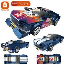 Forange blocos de construção super velocidade esporte carro puxar para trás veículo modelo tijolos presente aniversário para o menino