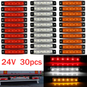 30x 6 LED light SMD 24V White Red Orange Truck Trailer Pickup Side Marker Indicator Lamps caravan tractor kart