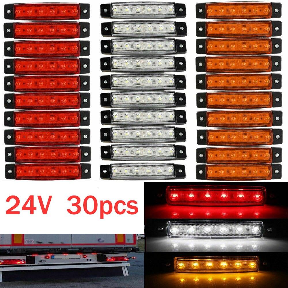 30x6 светодиодный светильник SMD 24V Белый Красный Оранжевый грузовик прицеп пикап боковой маркер индикатор лампы караван трактор картинг