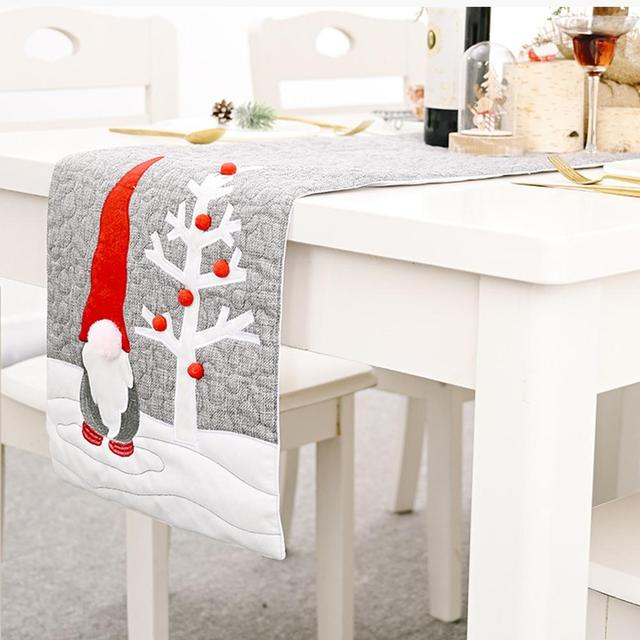 34*177cm Christmas Santa Gnome Plush Doll Christmas Table Runners Swedish Gnome Doll Tree Decorations Tablecloth Placemat 2