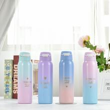 Bpa Free 480ML Thermals Milk&coffee Cup18/8 Stainless Steel Thermos Straw Water Bottle Gradient Color  Sports Vacuum Flask