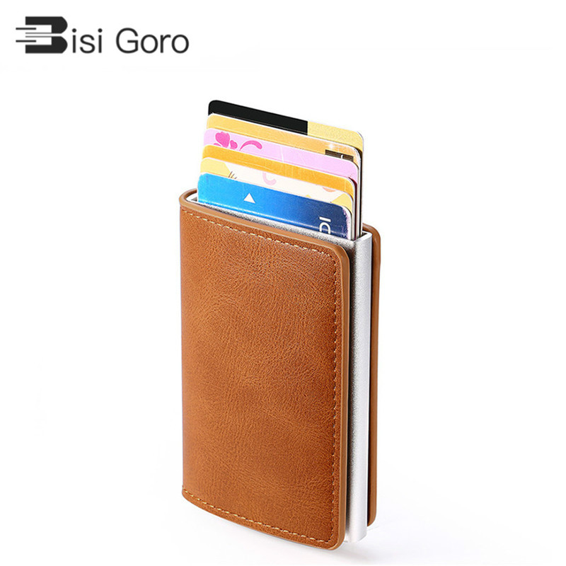 BISI GORO Smart Wallet For Men And Women Aluminum Box Credit Card Holder Mini Wallet Security RFID Holder PopUp Clutch Card Case