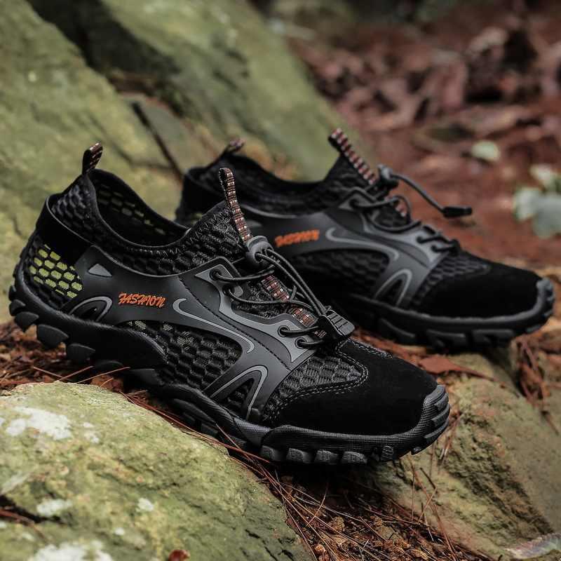 Тренд 2019 года; Мужская обувь; Летняя Пляжная водонепроницаемая обувь; мужские кроссовки; уличная дышащая повседневная обувь из сетчатого материала; мужские быстросохнущие сандалии; большие размеры