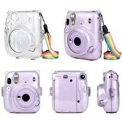 Прозрачный чехол для камеры Instax Mini 11, пылезащитный чехол с ремешком и защитой от ударов для Fuji