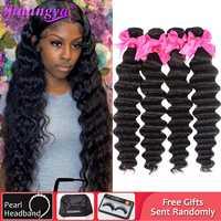 Extensiones de pelo ondulado brasileño, cabello Remy 100%, cabello humano, extensión de cabello suelto de onda profunda de 8-28 pulgadas, puede comprar 1/3/4 paquetes de Shuangya