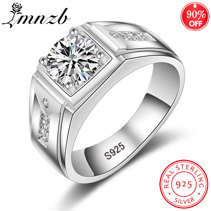 LMNZB Original 925 Solid Silver Wedding Rings For Men 1ct CZ Diamond Rings Big Width Men Engagement Fine Jewelry Gift LM009