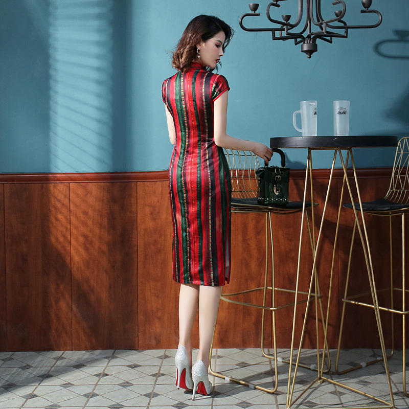 Mid-length Cheongsam 2019 New Style Fashion Faux Silk Chinese-style Cheongsam Slim Fit Daily Life Young Improvement Dress